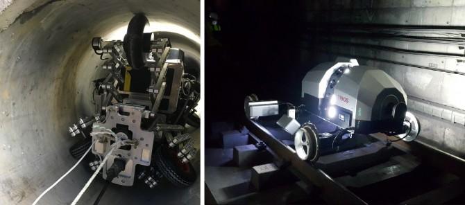 한국건설기술연구원에서 개발한 하수관 손상 탐지 로봇(왼쪽)과 한국철도기술연구원에서 개발한 철도터널 안전검사 로봇시스템(TIBOS)의 탐사 모습. - UGS융합연구단 제공